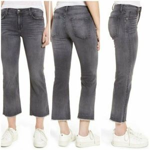 CURRENT/ELLIOT Grey The Kick Raw Hem Crop Jeans